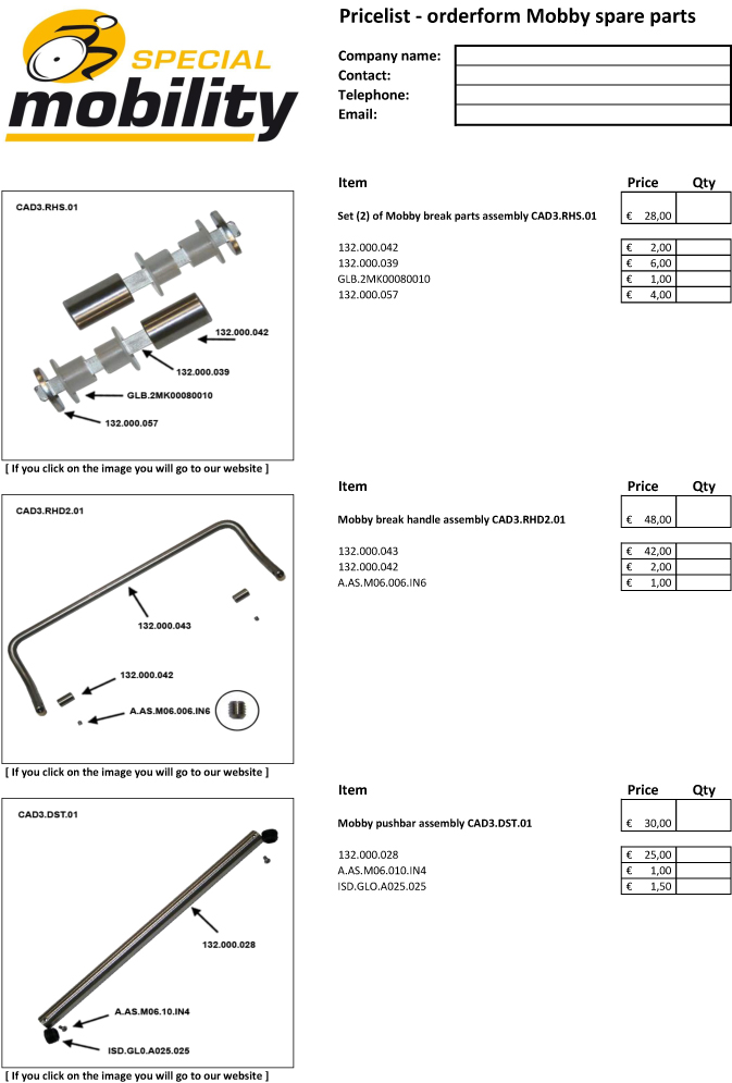 Mobby spare part pricelist - orderform